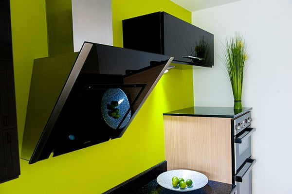 Shiny, modern kitchen in green and black