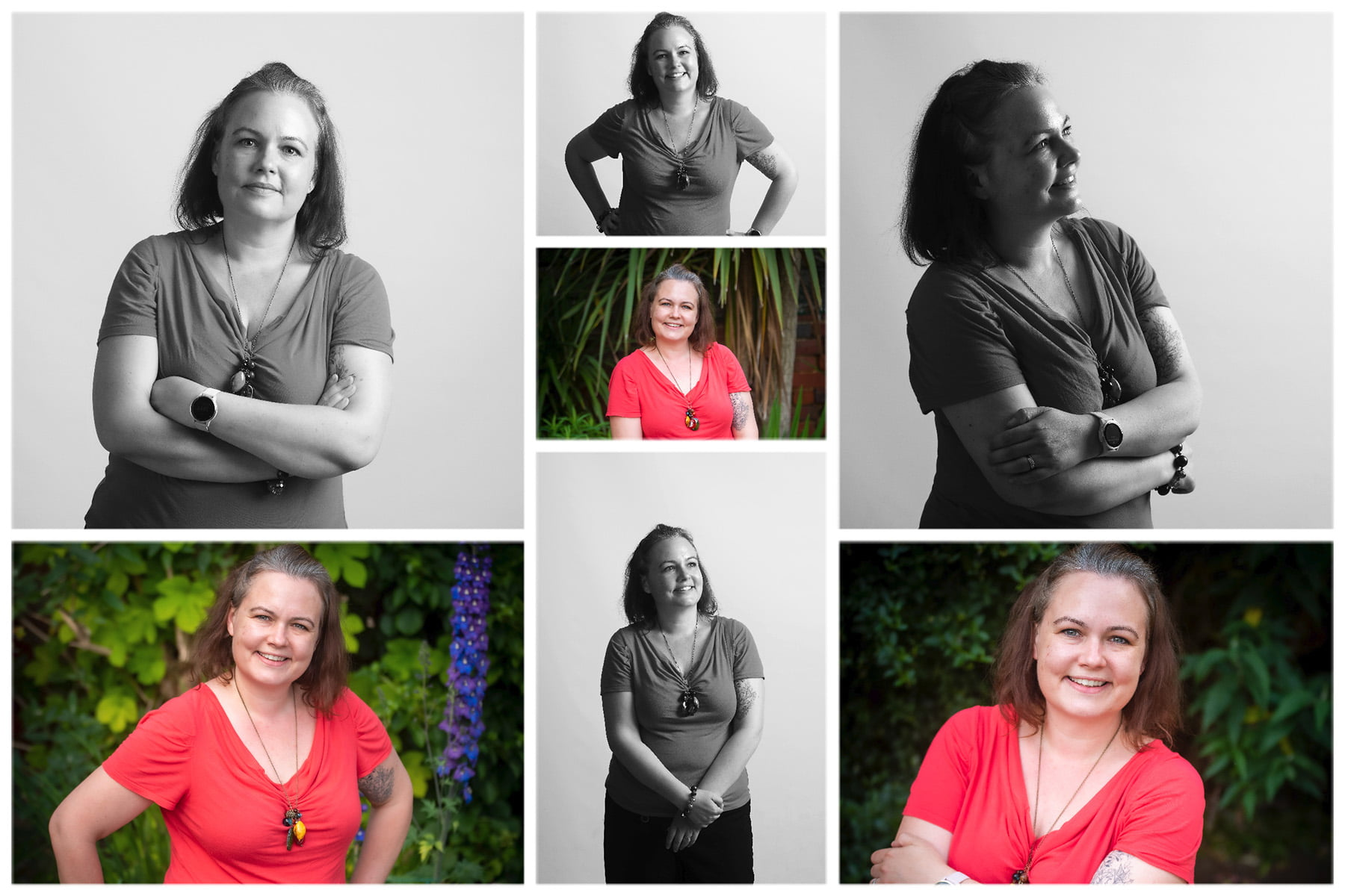 collage of business lady having professional photo shoot